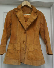 Vintage 1960's North Beach Whipstitch Hippie Rocker Leather Jacket Women's sz 4