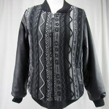 Coogi Australia Ugly Faux leather knit baseball Jacket Women Size Medium Vintage