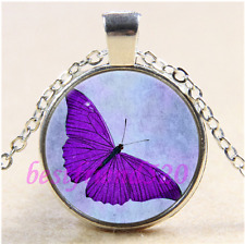 Tibet Silver Chain Pendant Necklace#Ca31 Purple Butterfly Photo Cabochon Glass