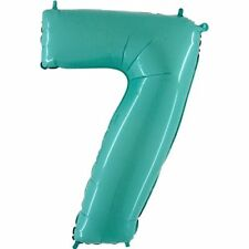 """40"""" Tiffany Blue Number 7 Balloon - Holographic Balloon - Party Balloon"""