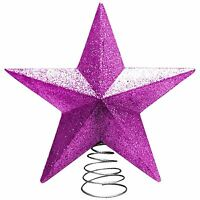 Pink Christmas Tree Topper 3D Star Home Decoration Party Glitter Shiny Ornaments
