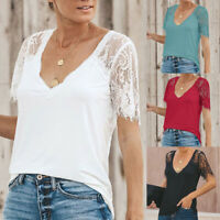 Plus Size Women Ladies Lace Summer Top Short Sleeve Blouse Casual Tops T Shirt