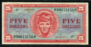 USA 1964, Military Payment, Series 611, 5 Dollar, H00613156H, M55, VF+