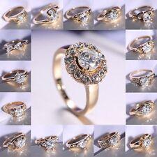 18K White Gold Plated Wedding Jewellery white Sapphire Engagement Ring UK Size 8