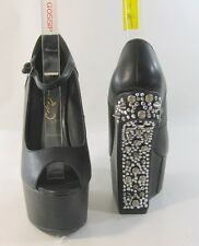 """Privileged Black/Spike 7"""" Wedge Heel less 2.5"""" Platform Sexy Shoes Size 5.5"""