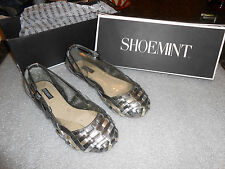 Shoemint Mary Metal Multi woven leather flats 6.5 M (B) New in box! silver grey