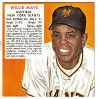 1952 Red Man Baseball Card NL #15 Willie Mays New York Giants EXNM  w/o Tab