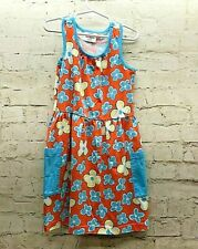 Hanna Anderson Girls 6X Dress Summer Flower Print  Orange Blue Sleeveless
