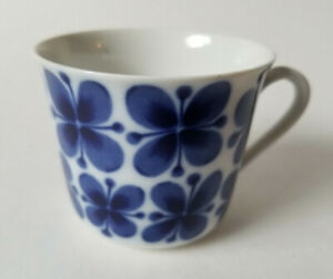 Rorstrand Mon Amie Coffee Cup Blue Flower White Porcelain Sweden Vintage MCM