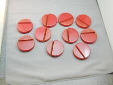 "10 HUGE 2 3/8 "" Round Red Bakelite Grooved Discs Holders Bases Chips"