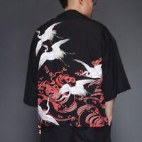 Men Open Front Casual Kimono Cardigan Jacket Top Shirt Chinese Japanese Oriental
