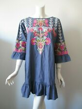 Khaadi Pakistan Chambray Embroidered Hobo Ruffle Trim 3/4 Sleeve Cotton Dress 12