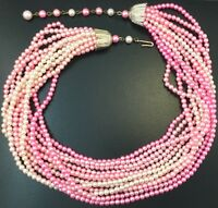 VINTAGE NECKLACE PINK BEADED MULTI STRAND BEAD JEWELRY JAPAN CLASP