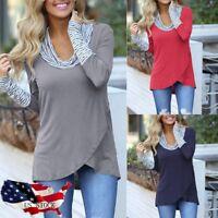 Women Long Sleeve Irregular Sweatshirt Tops Pullover Loose Blouse T-Shirt LUS