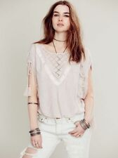 142099ND Free People New Romantics South Of The Equator Embroidered Blouse Top M
