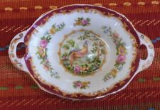 """Chelsea Bird Maroon 5"""" Handled Oval Sweet Meat Dish by Royal Albert Hard to Find"""