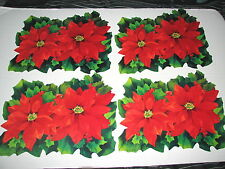 Vtg Lot of 4 Paper Christmas Poinsettia Holly Wall Hang Decorations Decor 16""