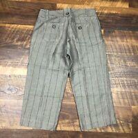 Banana Republic Brown Pinstriped Long Bermuda size 0 Linen Blend Women's Shorts