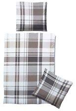Biberna Linon Bettwäsche Set 155x220cm 100% Baumwolle Reißverschluss grau/weiß