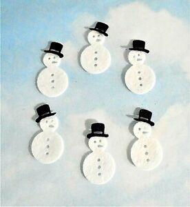 Felt die cut layered mini Christmas snowman x 6 embellishments toppers