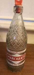 Vintage Marchants Drink Glass Bottle With Internal  Screw Stopper