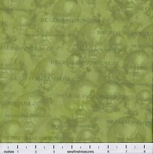Wizard of Oz 75 Years Wickedness GREAT POWERFUL OZ GREEN Fabric By the FQ 1/4 YD