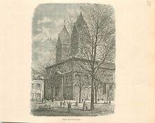 Collégiale Saint-Barthélemy de Liège Luik Wallonie GRAVURE ANTIQUE PRINT 1880