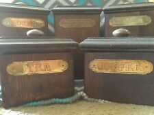 Vtg Wooden Canister Set Mid-Century Modern Country Ma Leck Woodcrafts