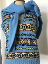 Vintage Small Mens Ladies 10 12 Pure Wool Fair Isle Vest & Free Pale Blue Jumper