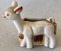 Adorable Vintage Porcelain Hand Painted Baby Deer Planter Made In Japan