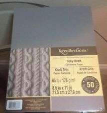 "NEW ~ RECOLLECTIONS ~ CARDSTOCK PAPER ~ 8.5"" X 11"" ~ GRAY KRAFT ~ 50 SHEETS"