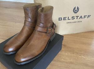 Belstaff Mens Trialmaster Short Biker Boots Size UK 8 EU42 Cognac RRP £450