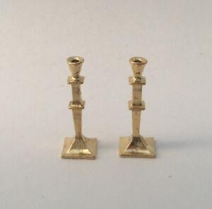 DIY Gold Mini Candlesticks White Candles Doll House Miniature Pair 1 Decor// L0C0
