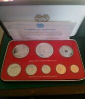 1976 Papua New Guinea PNG Proof Set Including 2 Silver Coins K5 & K10 - GEM FDC