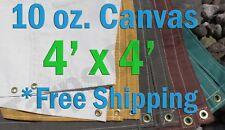 4 Ft. x 4 Ft. 10 Oz. Cotton Canvas Breathable Water Resistant Tarps