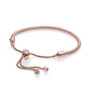 New Authentic Pandora Rose Gold ALE R Fiore Di Pesco Bracelet Slider 588093NCCMX