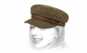 NWOT BRIXTON- FIDDLER CAP- MOSS/BROWN-WOOL BLEND-XS