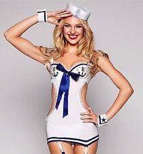 Women Lady Sexy Sailor Navy Anchor Marine Nightie Cosplay Costume dress Cap set