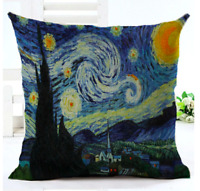 VAN GOGH STARRY NIGHT Cushion Cover! Retro Art Painting Throw Pillow UK 45cm