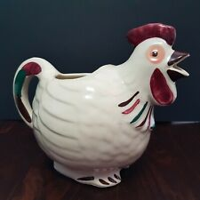 Chanticleer Art Pottery White Rooster Pitcher Jug Vintage 1940s
