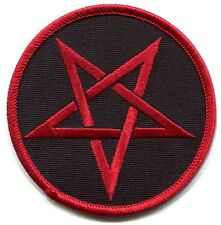 STAR pentagram red black IRON-ON PATCH **Free Shipping** witchcraft wiccan p3188