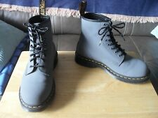 DR MARTENS MATTE GREY LEATHER BOOTS SIZE UK 6.5