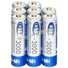 8x AA battery batteries Bulk Nickel Hydride Rechargeable NI-MH 3000mAh 1.2V BTY