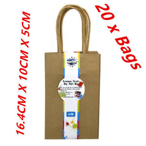 20 X MINI SMALL CRAFT DIY BROWN GIFT BAGS WITH HANDLE - PARTY, GIFT, WRAP A