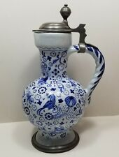 18th Century Signed and Dated Pewter Mounted Continental Faience Ceramic Jug