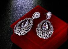 18k White Gold Long Earrings made w Swarovski Crystal Clear Stone Bridal Jewelry