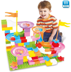 BeebeeRun Marble Run Building Blocks Set for Kid, 111 PCS Marble Race Track Toy,
