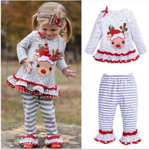 neu Baby Outfits Mädchen Kleid Hose+Langarmshirt Set Weihnachten Kleidung