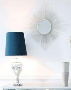 Pair of Handmade Silver Chmapagne Sunburst Starburst Wall Mirror - New