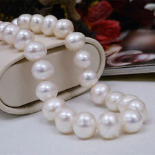 Huge 11-12MM Natural White Freshwater Cultured Pearl Necklace 18''